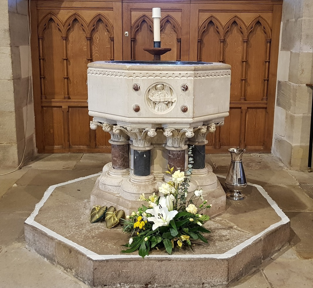 The font where baptisms take place