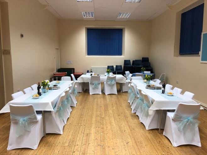 Whitburn Parish Hall dressed for a wedding venue